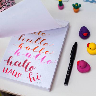 notes w kropki, notatnik, kaligrafia, hand lettering, frannys