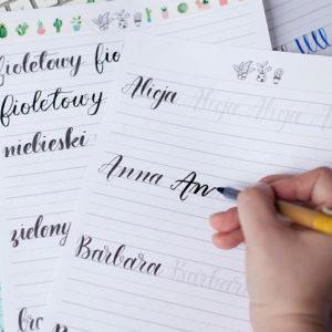 szablony do kaligrafii, nauka pisania